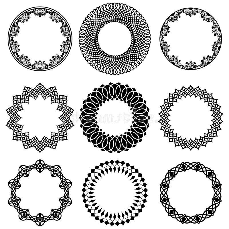 Sistema del vector de bastidores anchos redondos orientales libre illustration