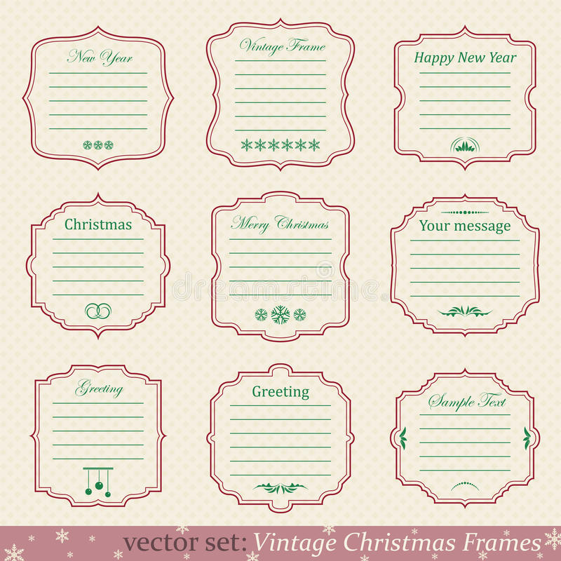 Sistema del vector de bastidores de la Navidad del vintage stock de ilustración