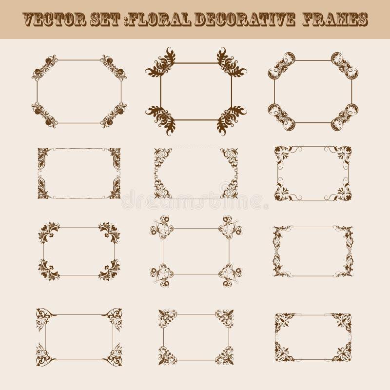Sistema del vector de bastidores decorativos imagen de archivo