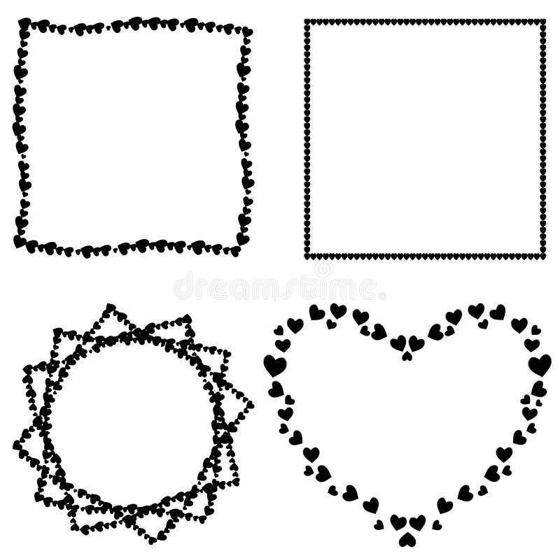 Sistema del vector de bastidores negros de la foto de los corazones para la tarjeta del día de San Valentín, casandose diseño rom ilustración del vector