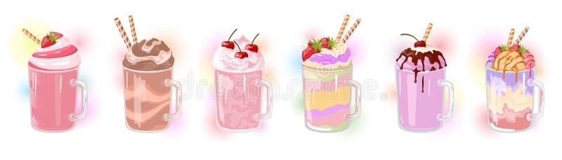 Sistema del vector de batidos de leche multicolores con la paja en las tazas de cristal libre illustration