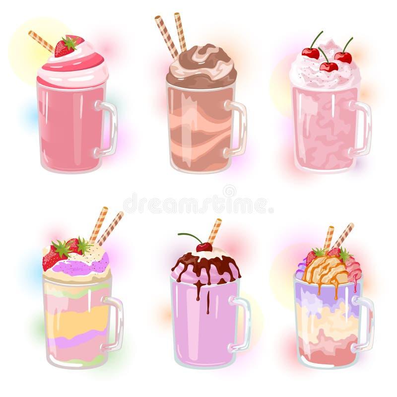 Sistema del vector de batidos de leche multicolores con la paja en las tazas de cristal stock de ilustración