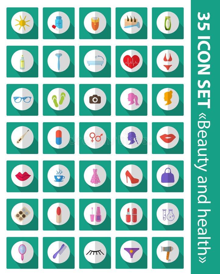 Sistema del vector de belleza plana de los iconos, moda, salud stock de ilustración
