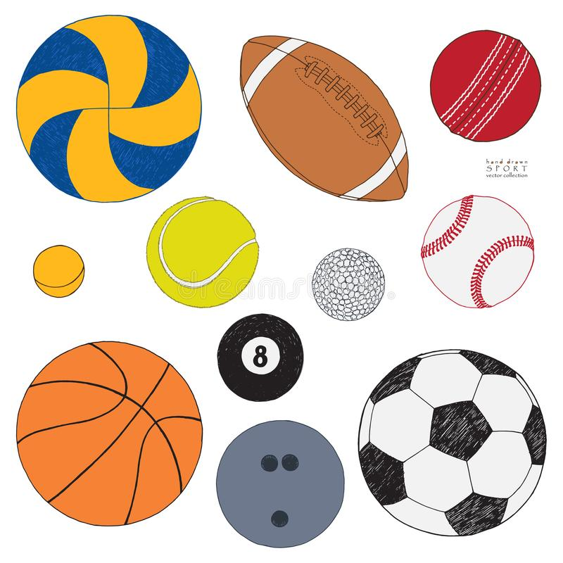 Sistema del vector de bolas del deporte Bosquejo coloreado dibujado mano Aislado en el fondo blanco ilustración del vector