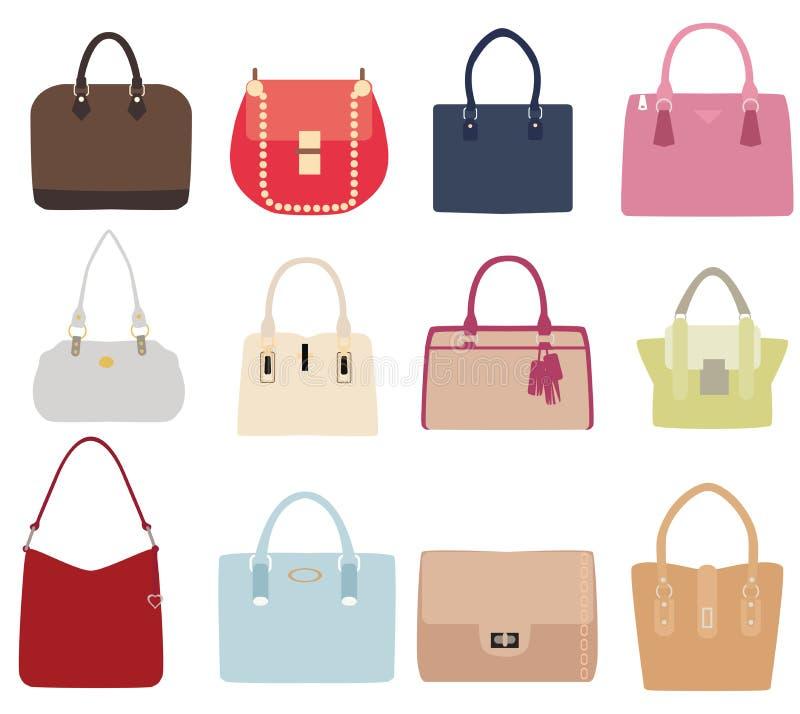 Sistema del vector de bolsos de las señoras stock de ilustración