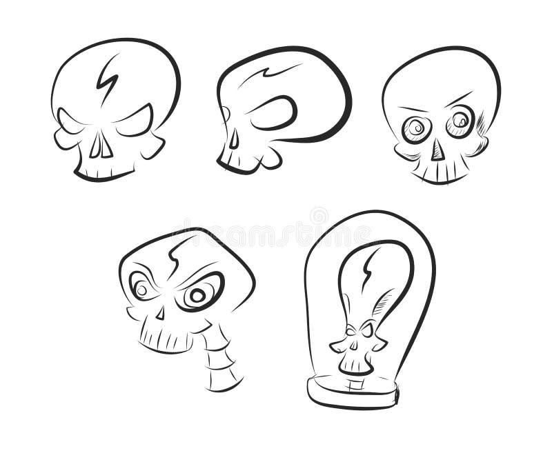 Sistema del vector de bosquejos simples del cráneo libre illustration