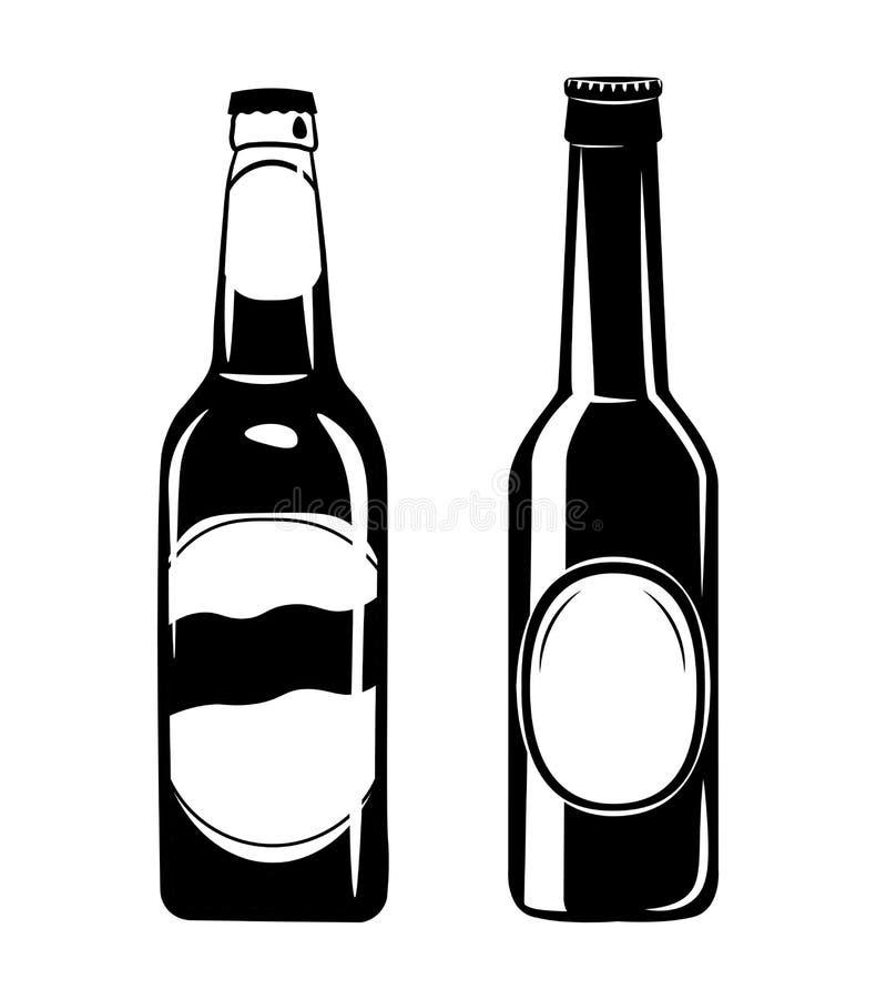 Sistema del vector de botellas de cerveza en estilo dibujado mano de la tinta Aislado en blanco ilustración del vector