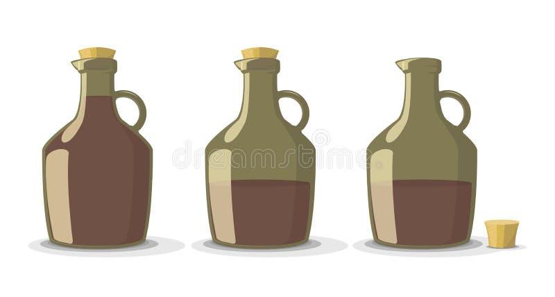 Sistema del vector de botellas de vino stock de ilustración