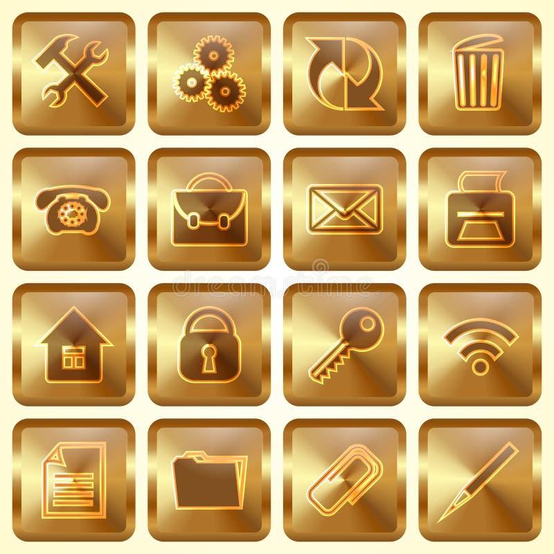 Sistema del vector de botones cuadrados de oro ilustración del vector