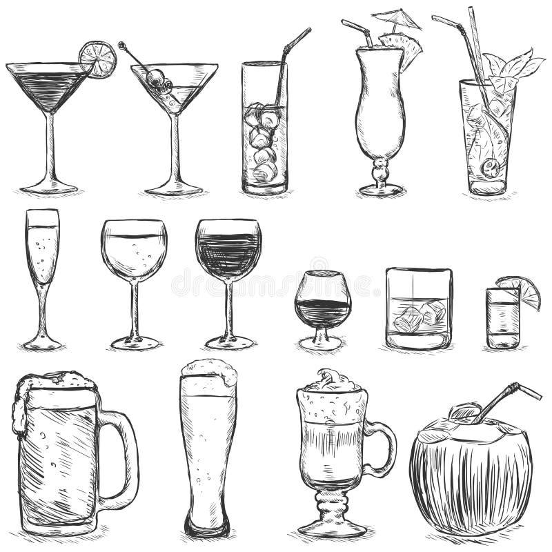 Sistema del vector de cócteles del bosquejo y de bebidas del alcohol stock de ilustración
