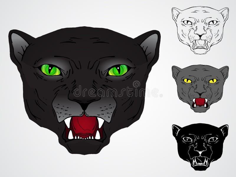 Sistema del vector de cabezas de las panteras libre illustration