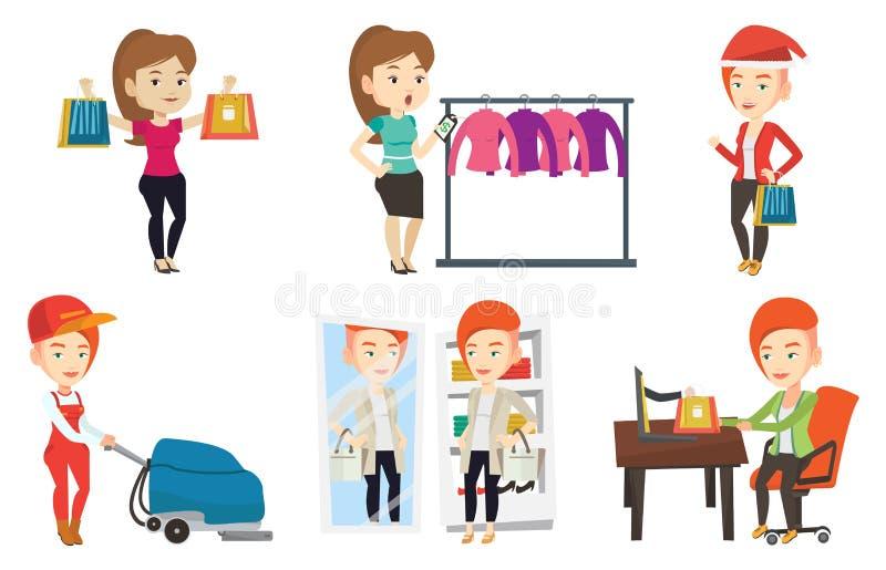 Sistema del vector de caracteres de la gente de las compras stock de ilustración