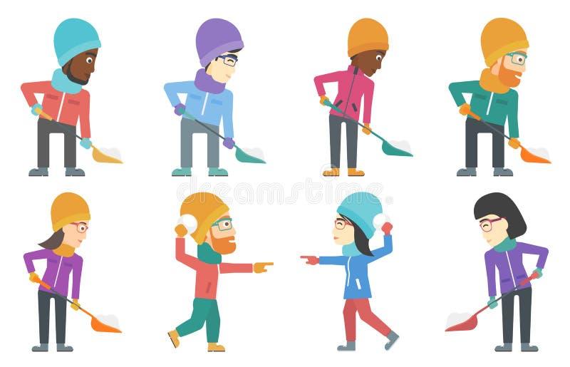 Sistema del vector de caracteres de la gente en invierno ilustración del vector