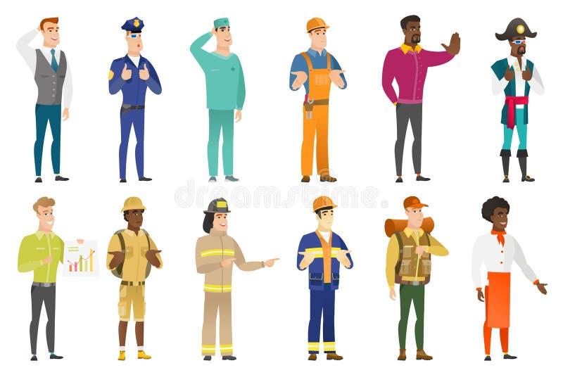 Sistema del vector de caracteres de las profesiones stock de ilustración
