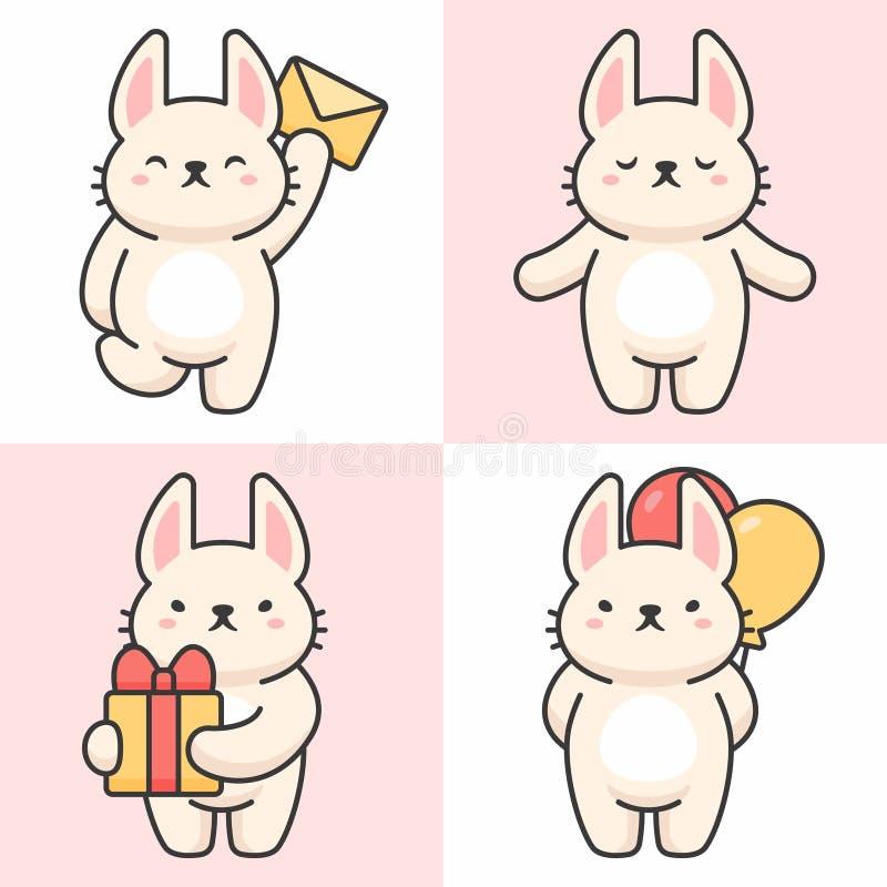 Sistema del vector de caracteres lindos del conejo libre illustration