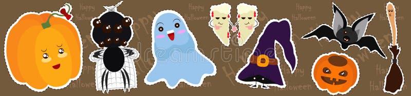 Sistema del vector de caracteres y de iconos para Halloween en estilo de la historieta ilustración del vector