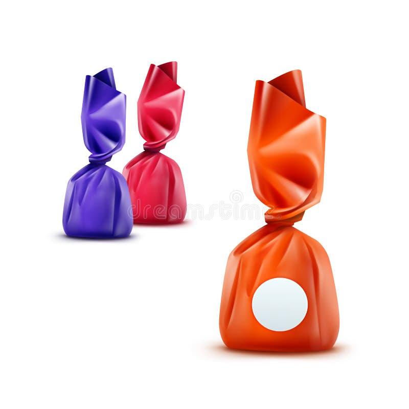 Sistema del vector de caramelos de chocolate realistas en cierre brillante azul rosado anaranjado de la envoltura para arriba en  stock de ilustración