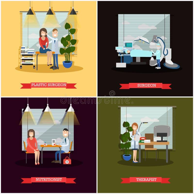 Sistema del vector de carteles de los médicos en estilo plano ilustración del vector