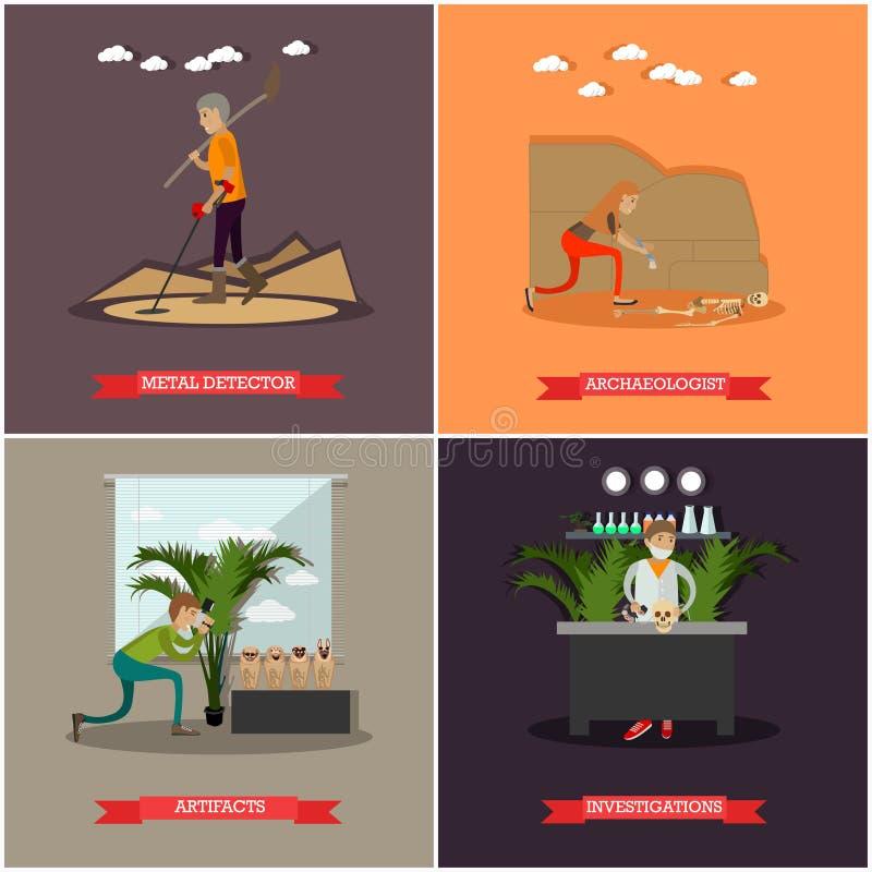 Sistema del vector de carteles del concepto de la arqueología en estilo plano ilustración del vector