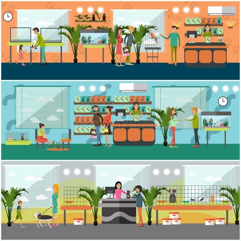 Sistema del vector de carteles del concepto de la tienda de animales en estilo plano ilustración del vector