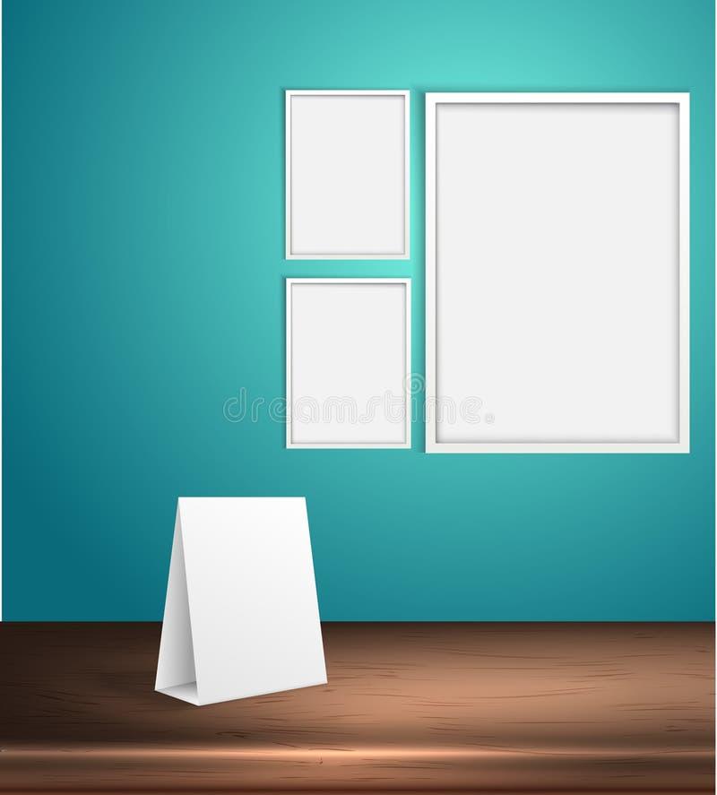 Sistema del vector de carteles en blanco en una pared Marco vacío para la plantilla del texto del espacio de la copia ilustración libre illustration