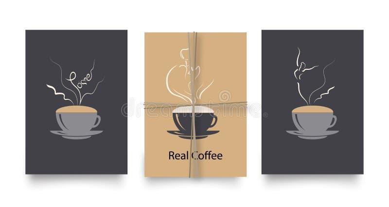 Sistema del vector de carteles o de tarjetas en estilo del café Vintage o plantillas retras para los aviadores, las invitaciones, libre illustration
