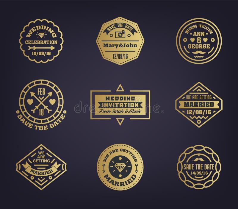Sistema del vector de casarse plantillas del logotipo Estilo del vintage del elemento del diseño para el logotipo, etiqueta, insi ilustración del vector