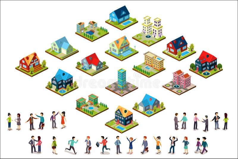 Sistema del vector de casas y de grupos de personas isométricos urbanos Edificios residenciales Estilo moderno 3d Elementos para  stock de ilustración