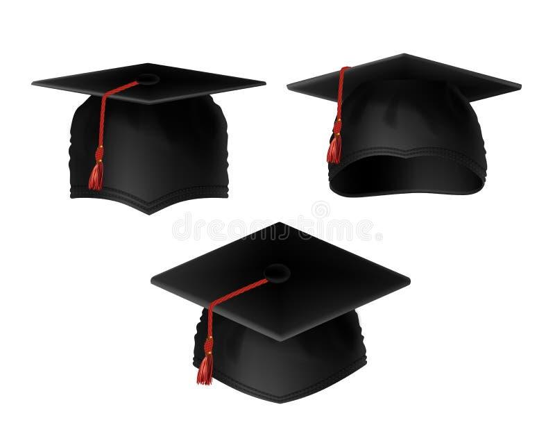 Sistema del vector de casquillos de la graduación con las borlas rojas stock de ilustración