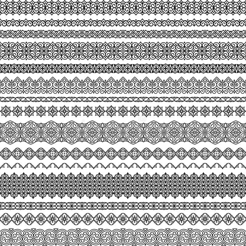 Sistema del vector de cepillos inconsútiles en adornos orientales Los cepillos incluyeron en fichero ilustración del vector