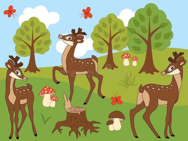 Sistema del vector de ciervos lindos de la historieta stock de ilustración