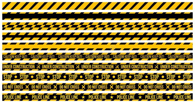 sistema del vector de cintas de la precaución en fondo de la pizca e El ejemplo consiste en la precaución guarda hacia fuera, no  libre illustration