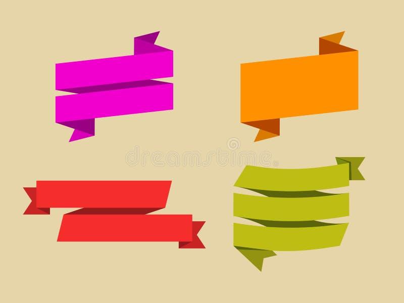 Sistema del vector de cintas planas stock de ilustración