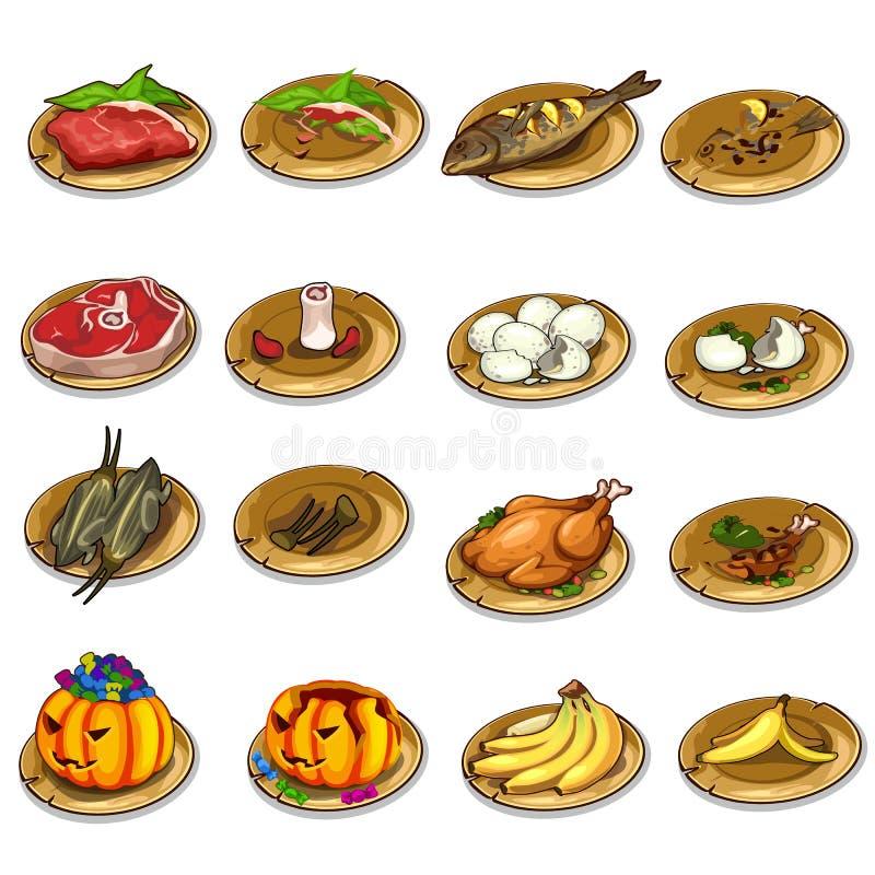 Sistema del vector de comida y de sobras deliciosas stock de ilustración