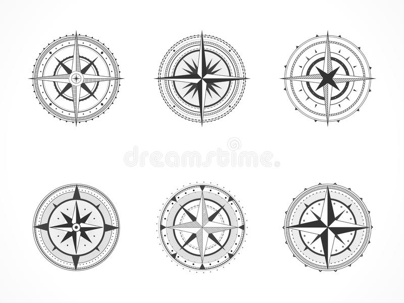 Sistema del vector de compases del vintage o de rosas de viento marinas Colección en la línea estilo del arte Línea negra stock de ilustración