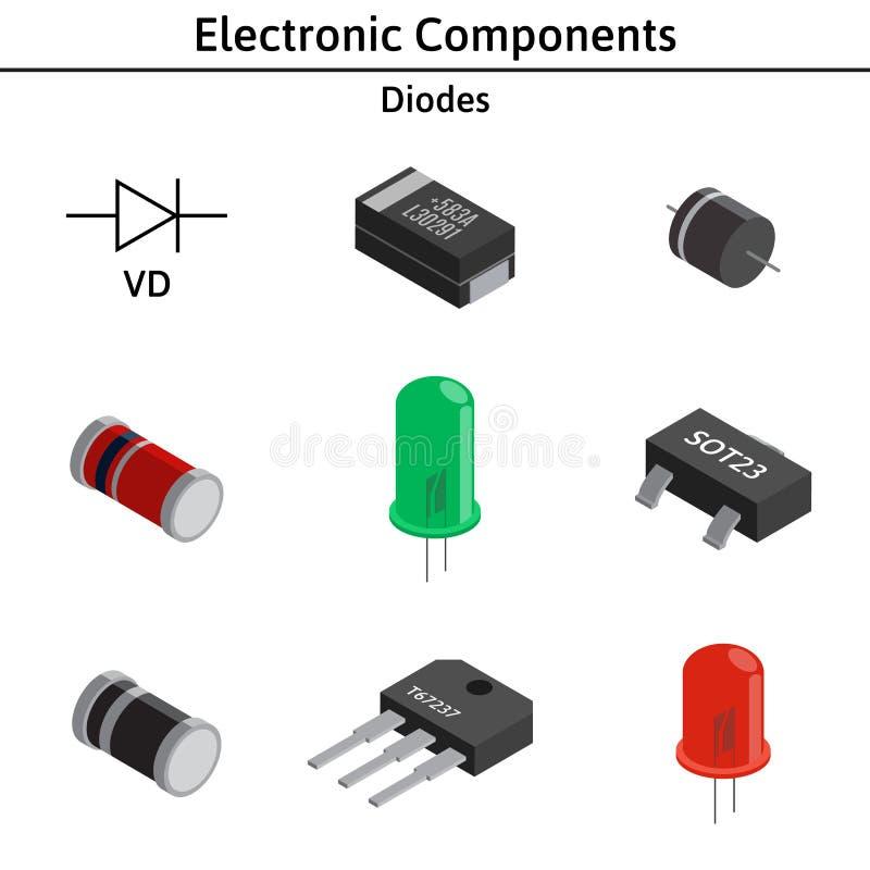 Sistema del vector de componentes electrónicos diodos ilustración del vector