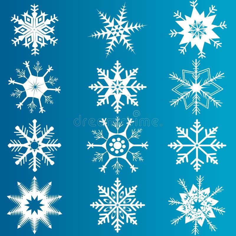 Sistema del vector de copos de nieve imagenes de archivo