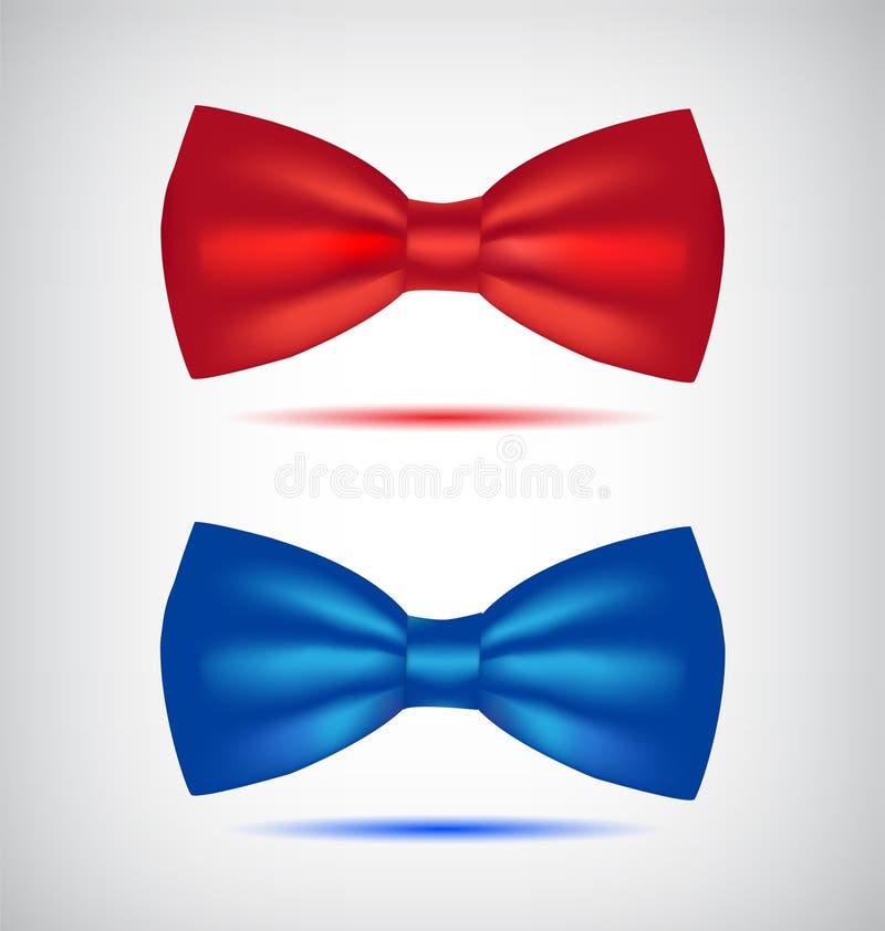Sistema del vector de corbatas de lazo azules y rojas realistas ilustración del vector