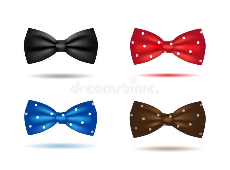 Sistema del vector de corbatas de lazo realistas coloridas stock de ilustración