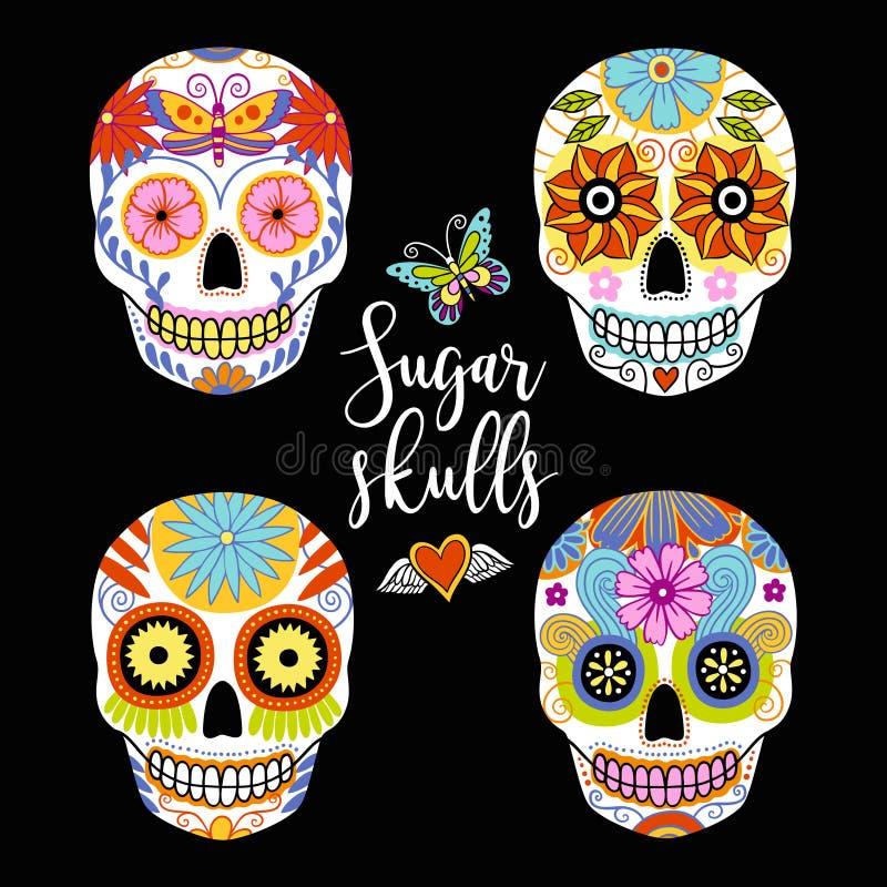 Sistema del vector de cráneos coloridos dibujados mano del azúcar ilustración del vector