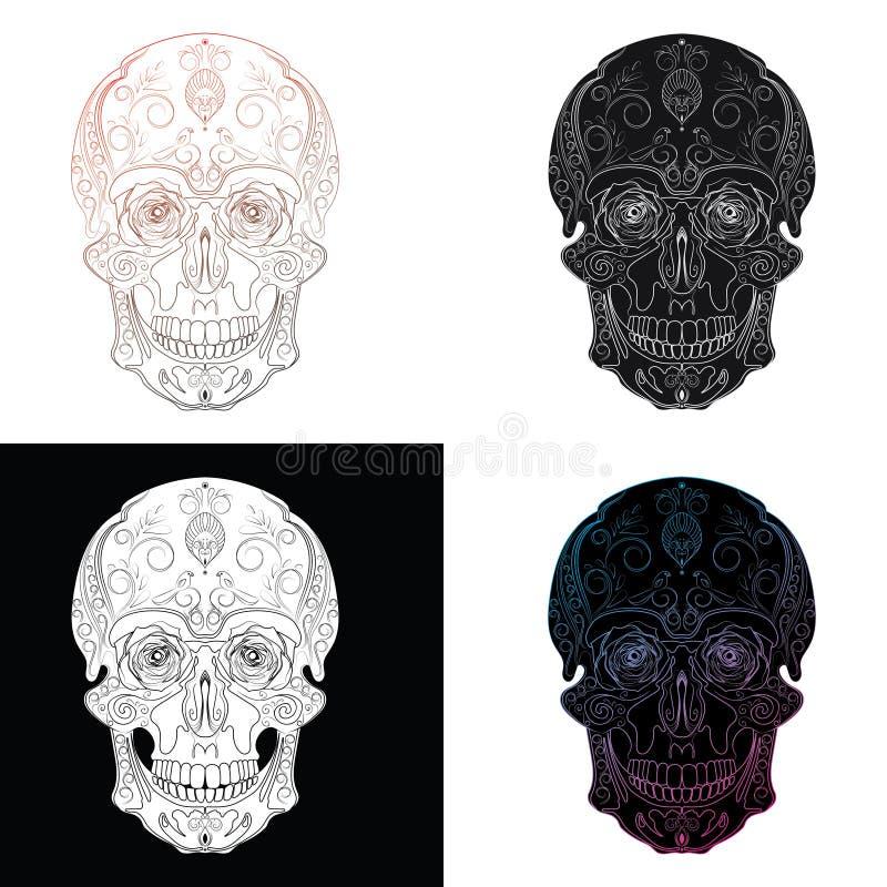 Sistema del vector de cráneos estilizados Cráneo humano con los ornamentos stock de ilustración