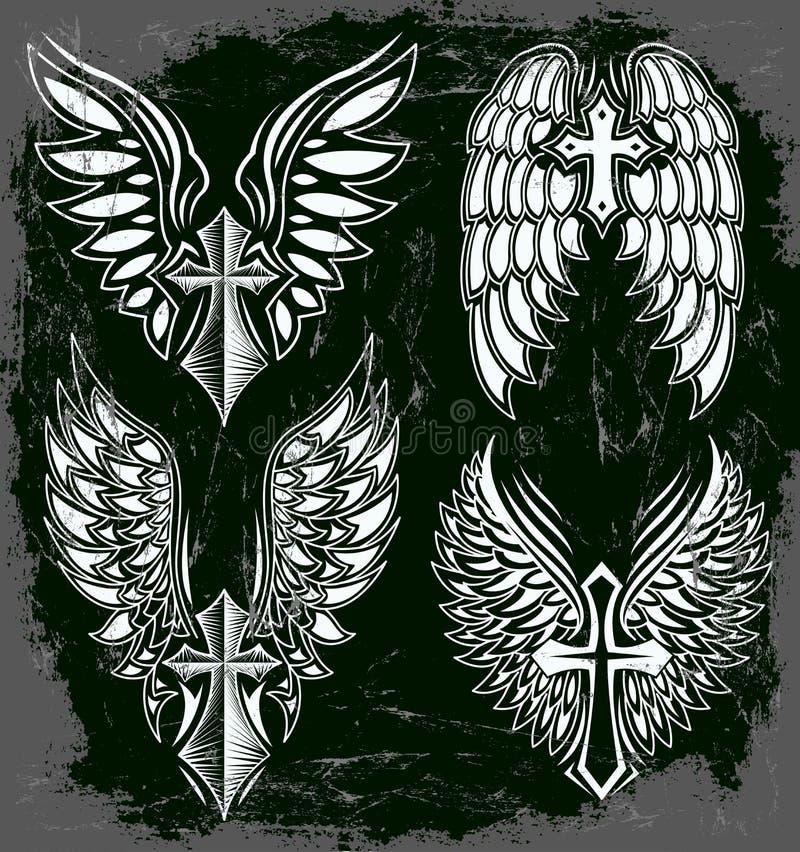 Sistema del vector de cruz y de alas stock de ilustración