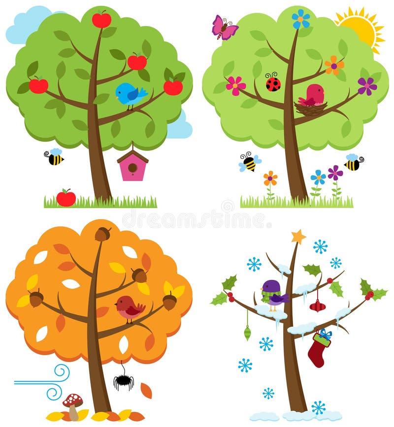 Sistema del vector de cuatro árboles de las estaciones con los pájaros ilustración del vector