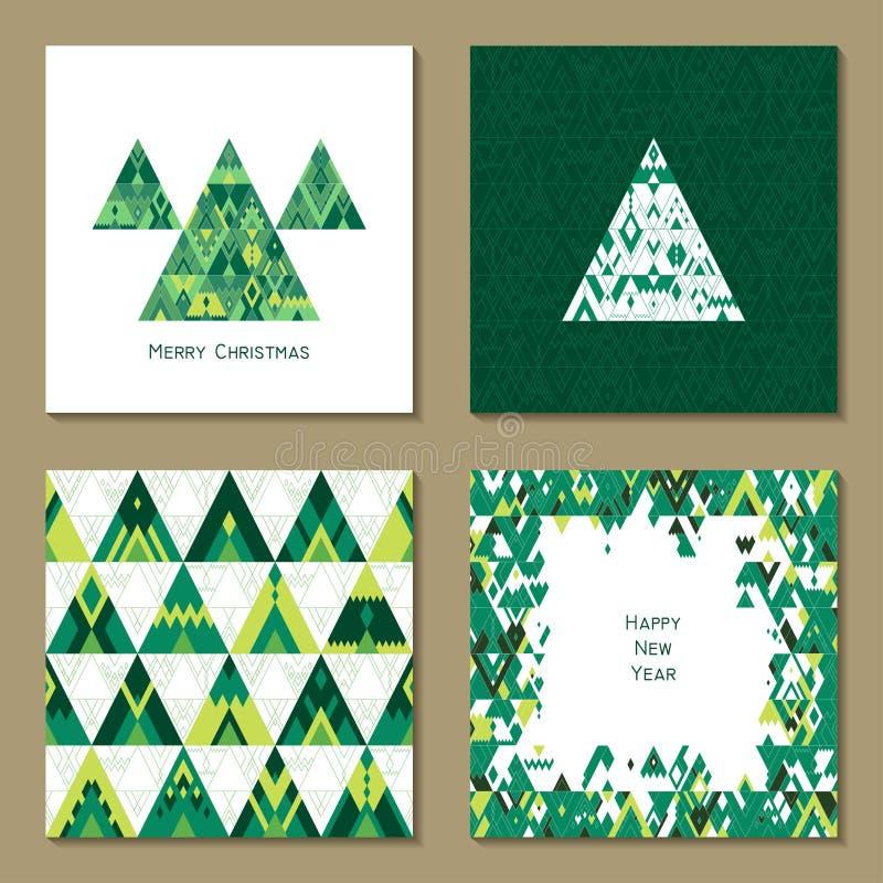 Sistema del vector de cuatro plantillas de la tarjeta de felicitación del Año Nuevo en estilo del inconformista libre illustration