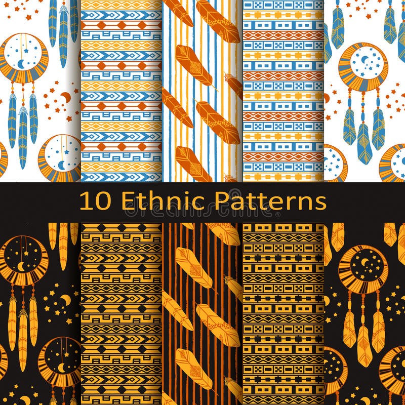 Sistema del vector de diez modelos étnicos inconsútiles del boho con las plumas stock de ilustración
