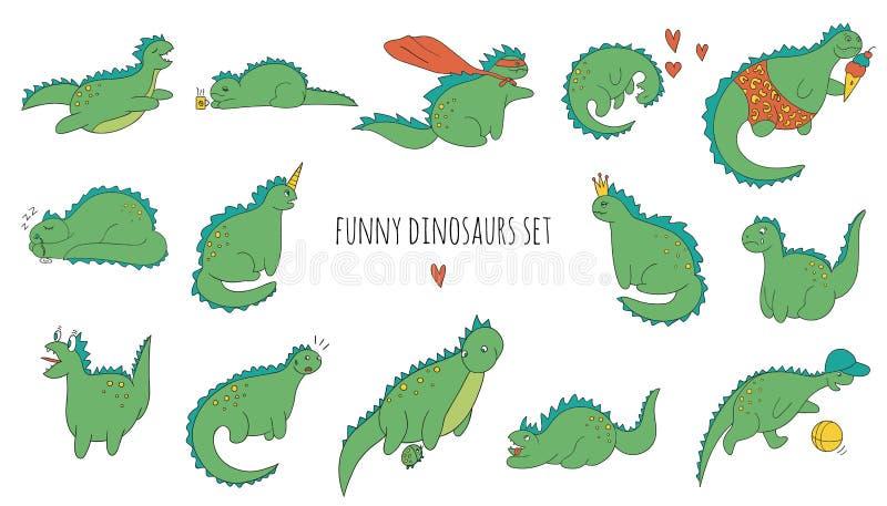 Sistema del vector de dinosaurios coloreados divertidos en diversas actitudes libre illustration