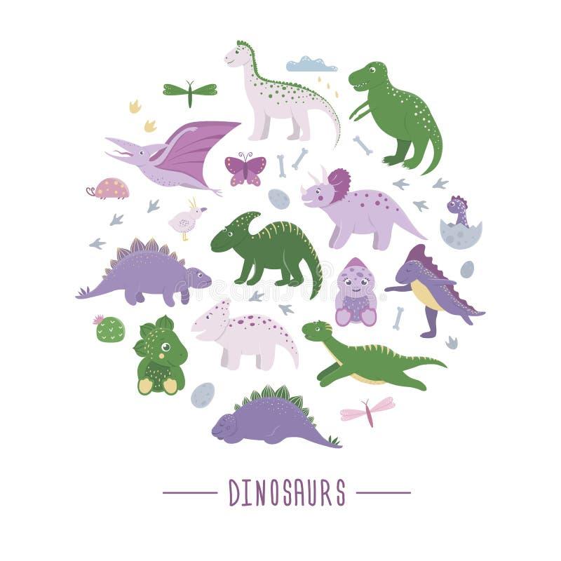 Sistema del vector de dinosaurios lindos con las nubes, huevos, huesos, pájaros para los niños enmarcados en círculo ilustración del vector
