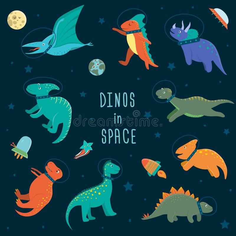 Sistema del vector de dinosaurios lindos en espacio exterior stock de ilustración