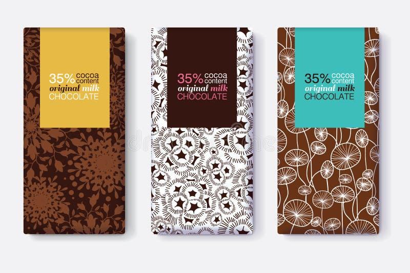 Sistema del vector de diseños de paquete de la barra de chocolate con los estampados de flores modernos de Brown Marcos en colore ilustración del vector
