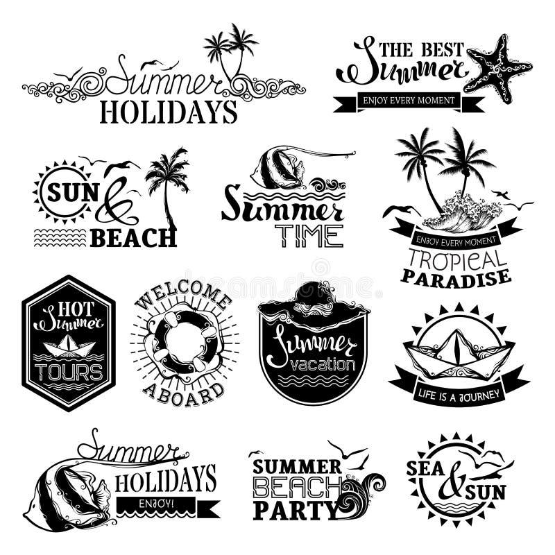 Sistema del vector de diseños del verano y del viaje stock de ilustración